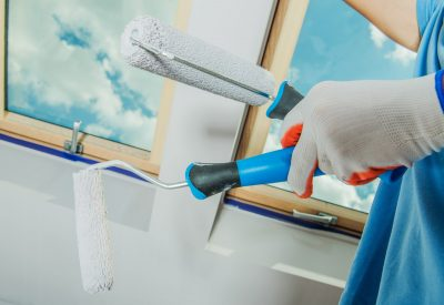 Room Painting Tools. Paintbrush and the Roller. Construction Industry Theme.